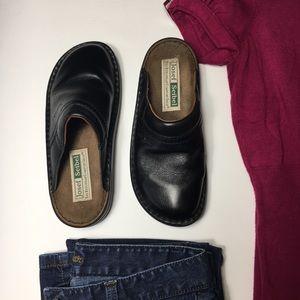 Josef Seibel Black Leather Mules, sz 38